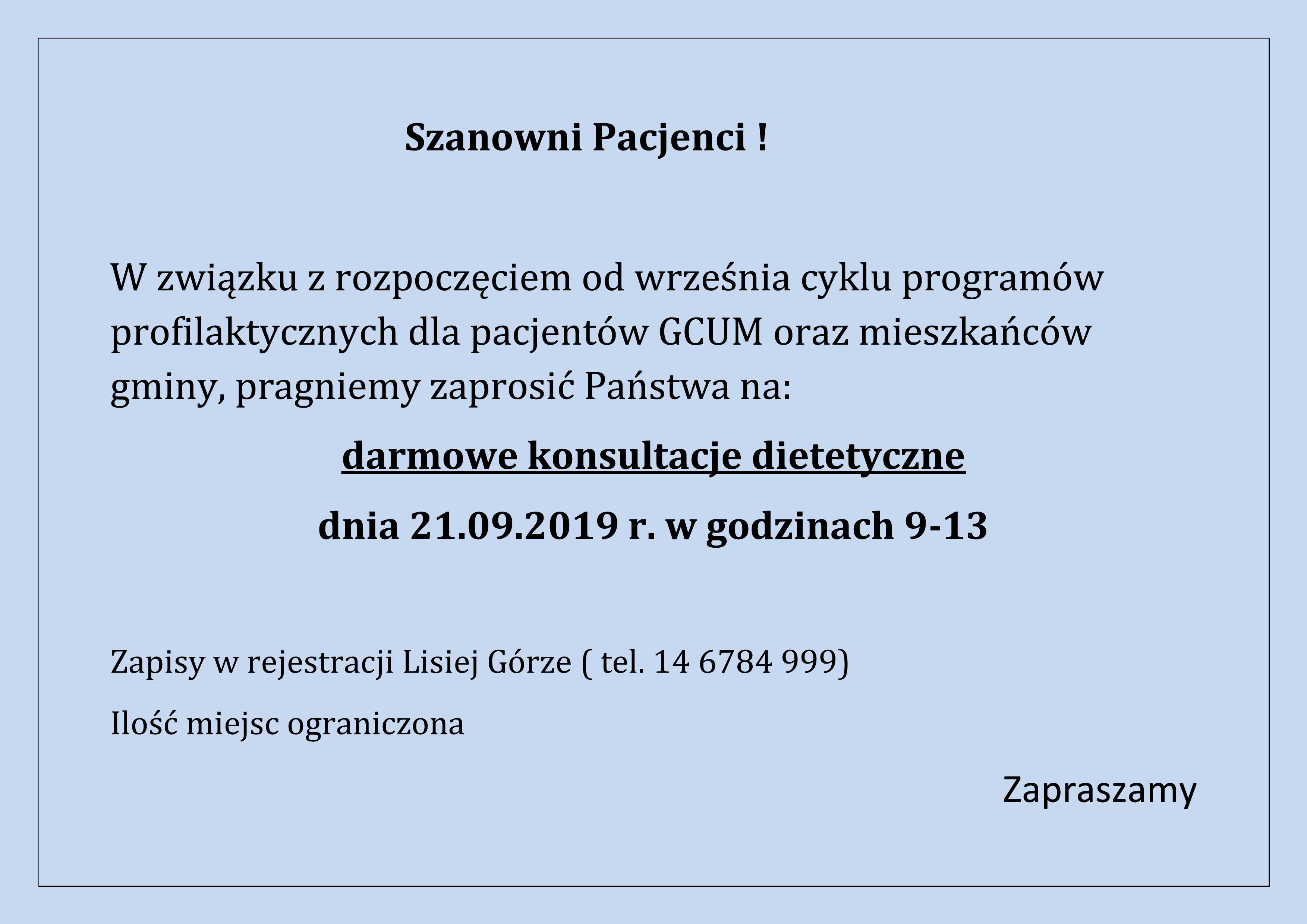 Program profilaktyczny dla mieszkańców Gminy Lisia Góra